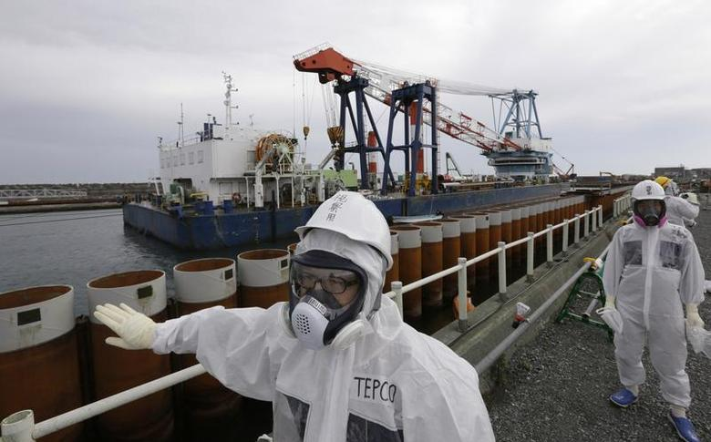 Tokyo Electric Power Co. (TEPCO) employees wearing protective suits and masks stand next to an impervious wall made of steel pipe sheet pile installed along the coast facing nuclear rector No.1 to No. 4 buildings, at the tsunami-crippled TEPCO's Fukushima Daiichi nuclear power plant in Fukushima prefecture November 7, 2013. REUTERS/Kimimasa Mayama/Pool