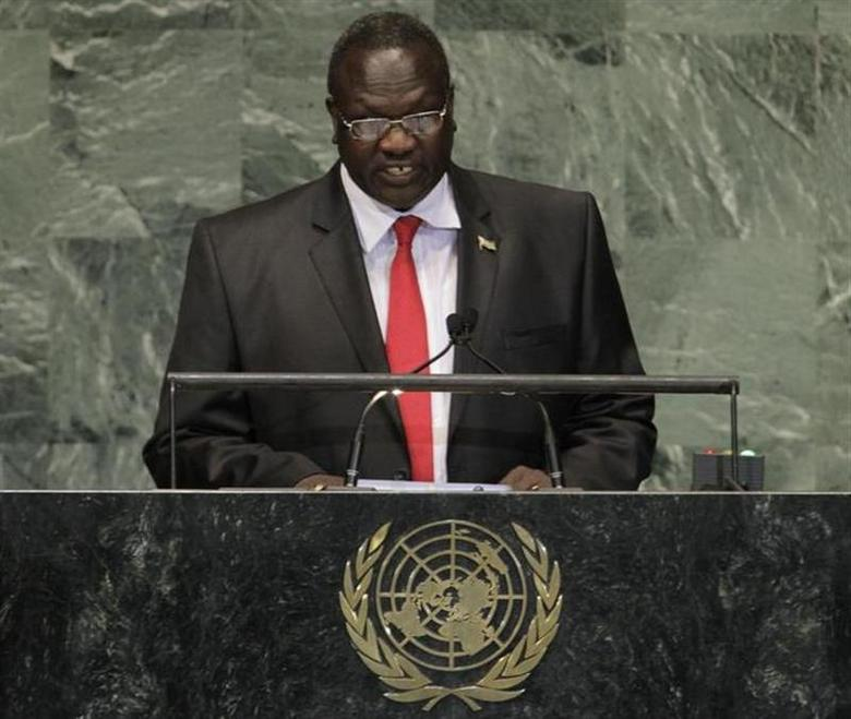South Sudan's Vice-President Riek Machar addresses the 67th United Nations General Assembly at the U.N. Headquarters in New York, September 27, 2012. REUTERS/Brendan McDermid