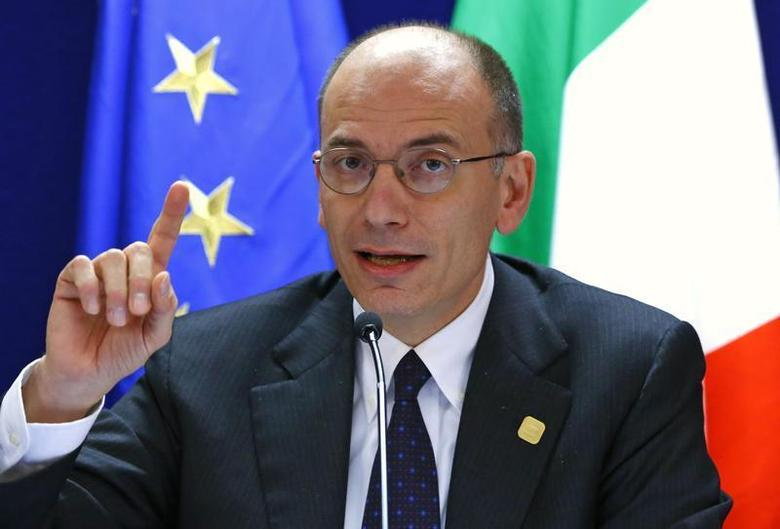 Italy's Prime Minister Enrico Letta addresses a news conference at the end of the European Union leaders summit in Brussels December 20, 2013. REUTERS/Yves Herman