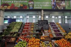 Una mujer trabaja en una verdulería en el Mercado Argentino en Lomas de Zamora, Argentina, abr 22 2013. El Gobierno argentino anunció el viernes el tercer congelamiento de precios de productos básicos en lo que va del año, acordado con empresas privadas, en medio de una aceleración de la alta inflación en el país. REUTERS/Marcos Brindicci