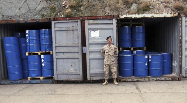 An Albanian soldier stands guard in front of containers, which according to officials from the Organisation for Security and Cooperation in Europe in Albania, contain newly-repackaged hazardous chemical waste at a military base in Qafe Molle, some 23 km (14 miles) from capital Tirana November 20, 2013. REUTERS/Arben Celi