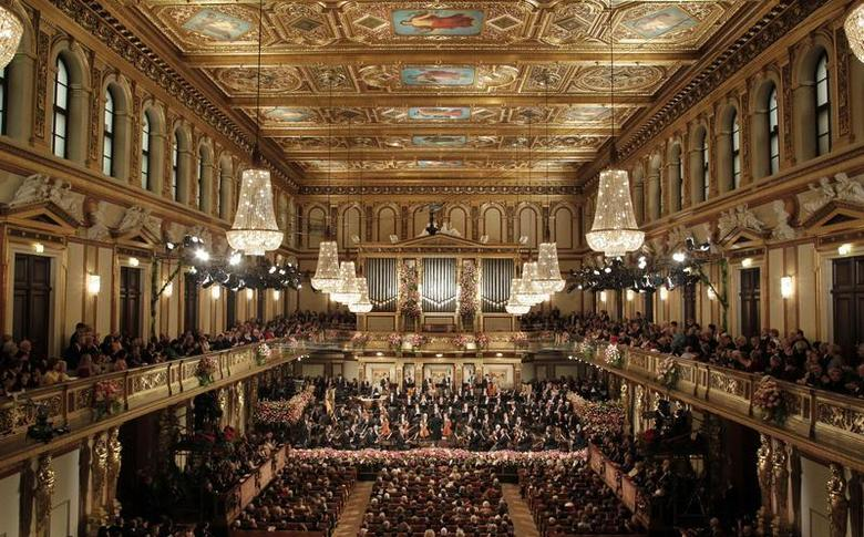 The Vienna Philharmonic Orchestra during the traditional New Year's Concert in the Golden Hall of the Vienna Musikverein in Vienna January 1, 2013. REUTERS/Herwig Prammer