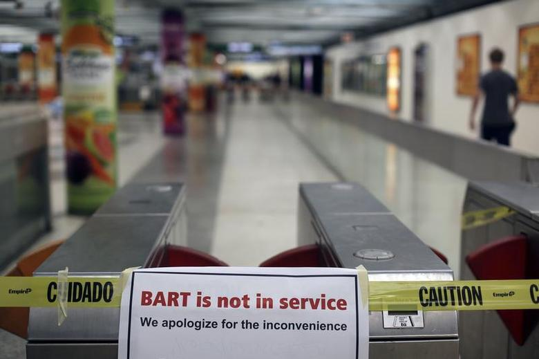 A sign is shown blocking the entrance to the Powell Street station of the Bay Area Rapid Transit (BART) in San Francisco, California October 21, 2013. REUTERS/Robert Galbraith