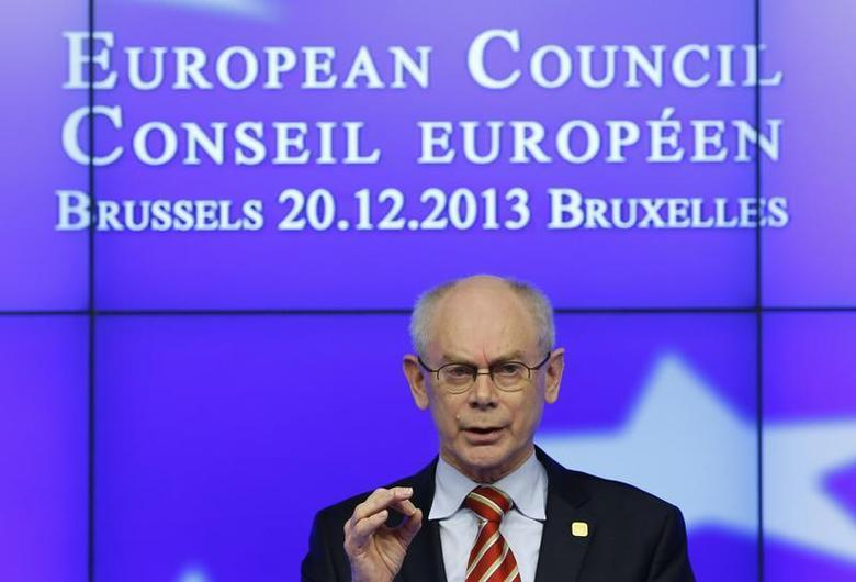 European Council President Herman Van Rompuy speaks at a news conference at the end European Union leaders summit in Brussels December 20, 2013. REUTERS/Yves Herman