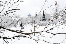 Люди лепят снеговика в московском парке Коломенское 1 января 2012 года. Рабочая неделя обещает Москве небольшой минус по ночам и минимальную положительную температуру в светлое время суток, прогнозируют синоптики. REUTERS/Denis Sinyakov