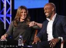 "Trainers Jillian Michaels (L) and Dolvett Quince (R) take part in a panel discussion of NBC Universal's show ""The Biggest Loser"" during the 2013 Winter Press Tour for the Television Critics Association in Pasadena, California January 6, 2013. REUTERS/Gus Ruelas"