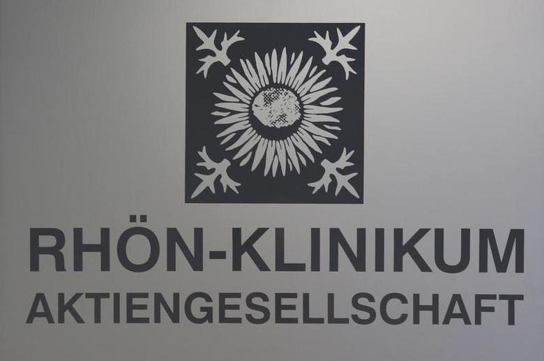 The logo of German healthcare company Rhon-Klinikum AG is pictured in Bad Neustadt near Fulda September 3, 2012. REUTERS/Alex Domanski