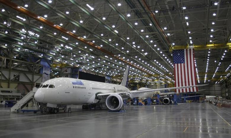 Boeing 787 Dreamliner aircraft are pictured on the production line at the Boeing facility in Everett, Washington February 17, 2012. REUTERS/Jason Reed