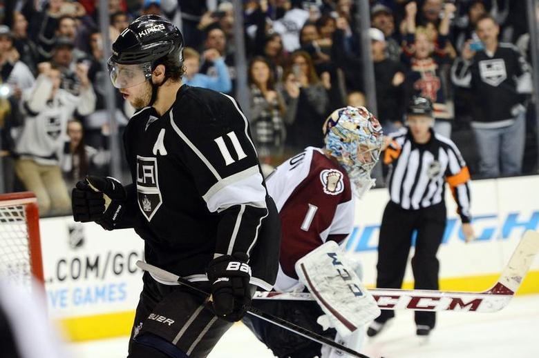 Los Angeles Kings center Anze Kopitar (11) reacts after he scored the winning goal past Colorado Avalanche goalie Semyon Varlamov (1) in the shootout at Staples Center. The Kings won 3-2 in a shootout. Jayne Kamin-Oncea-USA TODAY Sports