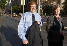 British financier Guy Hands arrives at Manhattan Federal Court in New York October 20, 2010. REUTERS/Brendan McDermid