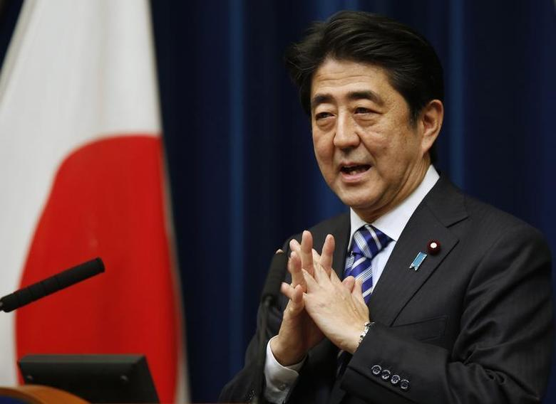 Japan's Prime Minister Shinzo Abe speaks during a news conference to wrap up the ASEAN-Japan Commemorative Summit Meeting at his official residence in Tokyo December 14, 2013. REUTERS/Toru Hanai