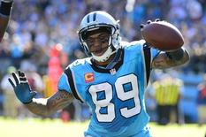 Oct 20, 2013; Charlotte, NC, USA; Carolina Panthers wide receiver Steve Smith (89) reacts after scoring a touchdown in the third quarter against the St. Louis Rams at Bank of America Stadium. Mandatory Credit: Bob Donnan-USA TODAY Sports