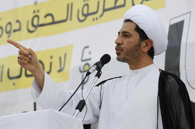 General Secretary of Bahrain's main opposition party Al Wefaq Sheikh Ali Salman speaks during an anti-government sit-in organized in the village of Sitra, south of Manama, May 3, 2013. REUTERS/Hamad I Mohammed