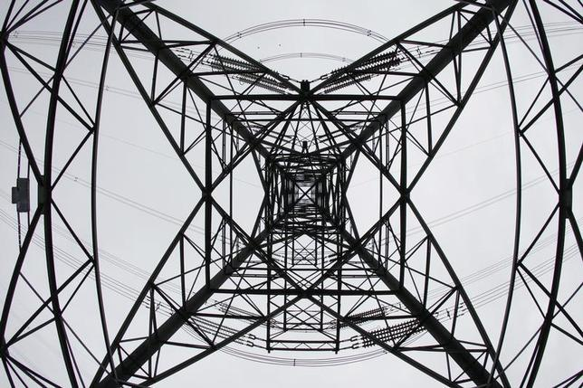 An electricity pylon is seen at Ratcliffe on Soar, central England October 14, 2008. REUTERS/Darren Staples