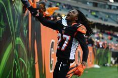 Dec 29, 2013; Cincinnati, OH, USA; Cincinnati Bengals cornerback Dre Kirkpatrick (27) celebrates with fans after defeating the Baltimore Ravens 34-17 at Paul Brown Stadium. Mandatory Credit: Andrew Weber-USA TODAY Sports - RTX16WSD