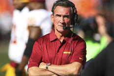 Oct 27, 2013; Denver, CO, USA; Washington Redskins head coach Mike Shanahan on the sidelines during the first half against the Denver Broncos at Sports Authority Field at Mile High. Mandatory Credit: Chris Humphreys-USA TODAY Sports
