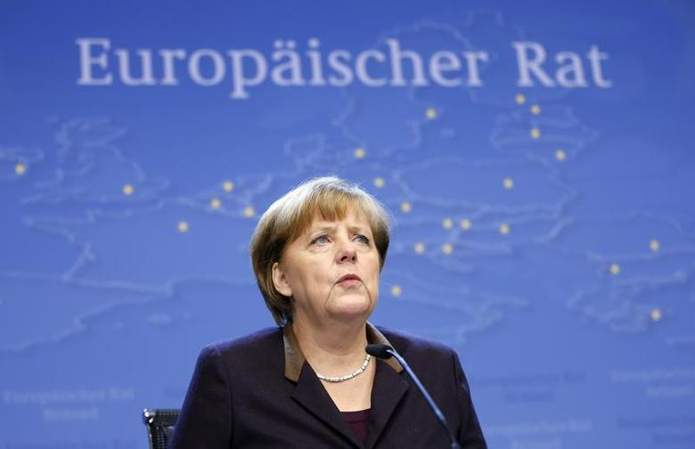 Germany's Chancellor Angela Merkel addresses a news conference at the end of a European Union leaders summit in Brussels December 20, 2013. REUTERS/Francois Lenoir
