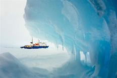 The MV Akademik Shokalskiy is pictured stranded in ice in Antarctica, December 29, 2013. REUTERS/Andrew Peacock