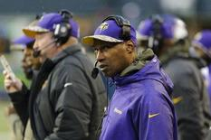 Nov 17, 2013; Seattle, WA, USA; Minnesota Vikings head coach Leslie Frazier during the second half against the Seattle Seahawks at CenturyLink Field. Steven Bisig-USA TODAY Sports