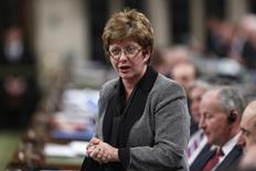 Canada's Public Works Minister Diane Finley speaks during Question Period in the House of Commons on Parliament Hill in Ottawa November 18, 2013. REUTERS/Chris Wattie