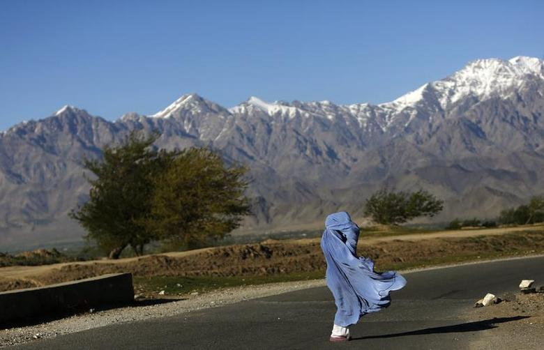 An Afghan woman in a burqa walks along a road on a windy day on the outskirts of Kabul April 16, 2013. REUTERS/Mohammad Ismail