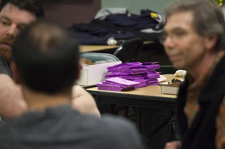 Ballots are pictured at the International Association of Machinists and Aerospace Workers (IAM) District Lodge 751 headquarters in Seattle, Washington January 3, 2014. REUTERS/David Ryder