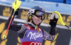 Mikaela Shiffrin of the U.S. celebrates after winning the World Cup alpine skiing women's slalom race in Bormio, January 5, 2014. REUTERS/Stefano Rellandini