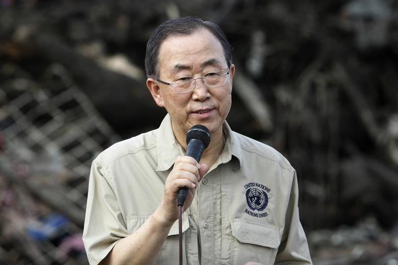 U.N. Secretary-General Ban Ki-moon speaks to members of the media after inspecting a devastated area of Fatima village at Tacloban city, central Philippines December 21, 2013, after super Typhoon Haiyan hit the central Philippines a month ago file photo. REUTERS/Romeo Ranoco