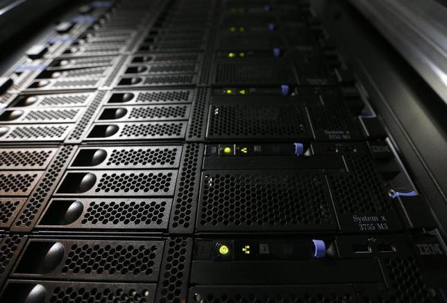 An IBM System x3755 M3 server is pictured in the data center at the Swiss Federal Institute of Technology (EPFL) in Ecublens, near Lausanne October 7, 2013. REUTERS/Denis Balibouse