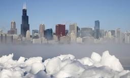 A cidade de Chicago é vista em meio à onda de frio ártico, no Estado norte-americano de Illinois, nos Estados Unidos, nesta segunda-feira. 06/01/2014 REUTERS/Jim Young