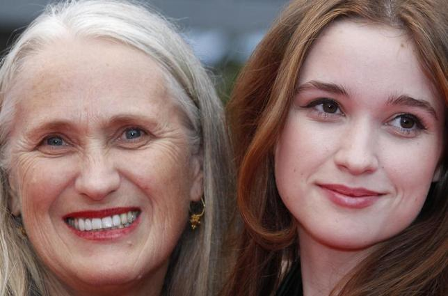 Director Jane Campion (R) and her daughter, actress Alice Englert, arrive on the red carpet for the screening of the film ''Sleeping Beauty'', in competition at the 64th Cannes Film Festival, May 12, 2011. REUTERS/Vincent Kessler