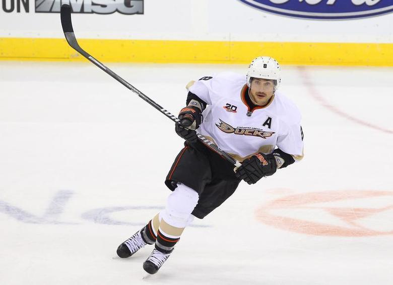 Anaheim Ducks right wing Teemu Selanne (8) skates during the third period against the New Jersey Devils at the Prudential Center. Mandatory Credit: Ed Mulholland-USA TODAY Sports