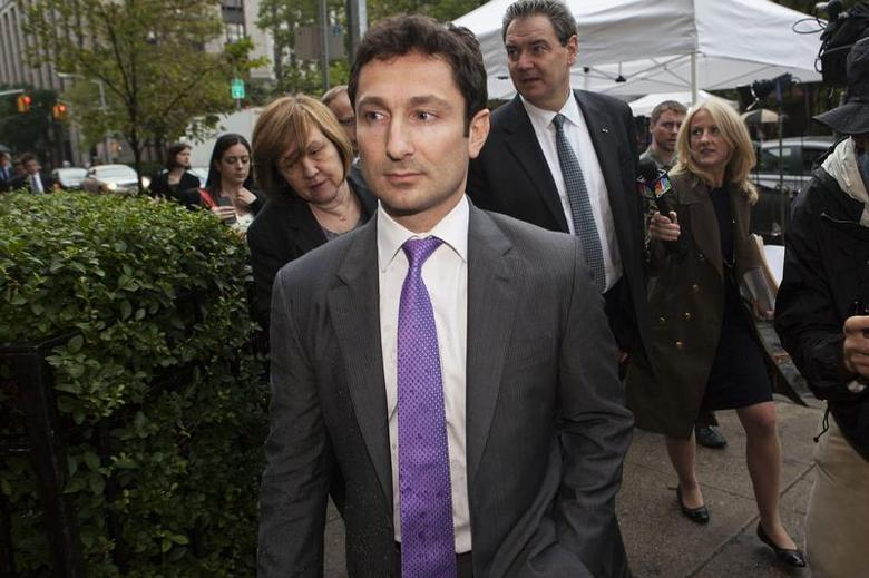 Former Goldman Sachs bond trader Fabrice Tourre leaves the Manhattan Federal Court in New York August 1, 2013. REUTERS/Keith Bedford