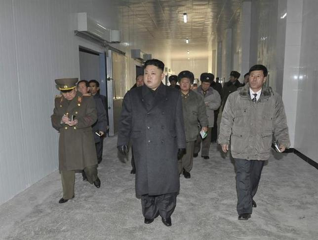 North Korean leader Kim Jong Un visits the Aquatic Products Refrigerating Facilities, which is newly built by KPA Unit 534, in this undated photo released by North Korea's Korean Central News Agency (KCNA) January 7, 2014. REUTERS/KCNA