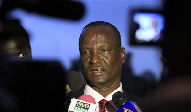 Head of the rebel delegation General Taban Deng Gai, addresses journalists during South Sudan's negotiations in Ethiopia's capital Addis Ababa, January 8, 2014. REUTERS/Tiksa Negeri