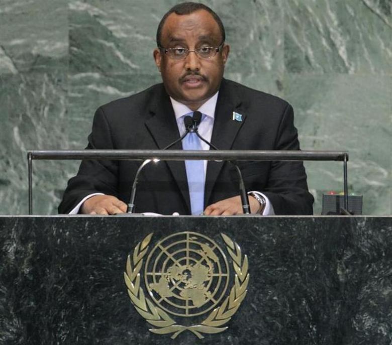 Somalia's Prime Minister Abdiweli Mohamed Ali addresses the 67th United Nations General Assembly at the U.N. Headquarters in New York, September 27, 2012. REUTERS/Brendan McDermid