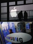 Apple et Samsung Electronics ont accepté de se rencontrer lors d'une session de médiation qui doit avoir lieu au plus tard le 19 février, soit quelques semaines avant un nouvel affrontement judiciaire aux Etats-Unis entre les géants de l'électronique au sujet de brevets liés aux smartphones. /Photos d'archives/REUTERS/Petar Kujundzic/Kim Hong-Ji