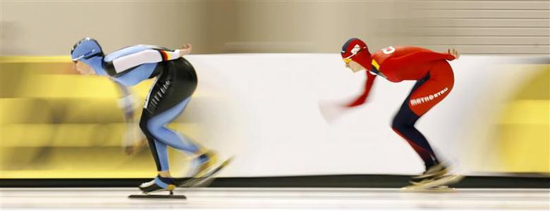 Germany's Claudia Pechstein (L) skates to a second place finish against Czech Republic's Martina Sablikova in the Women's 5000m race at the ISU World Single Distances Speed Skating Championships in Salt Lake City, Utah, March 11 , 2007. REUTERS/Lucy Nicholson/Files