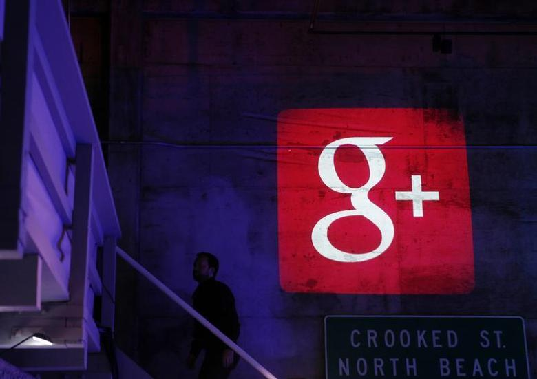The Google Plus logo is projected on to the wall during a Google event in San Francisco, California, October 29, 2013. REUTERS/Beck Diefenbach/Files