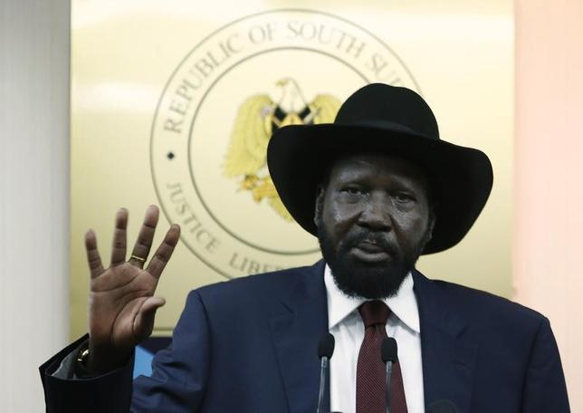 South Sudan's President Salva Kiir gestures during a news conference in Juba December 18, 2013. REUTERS/Goran Tomasevic