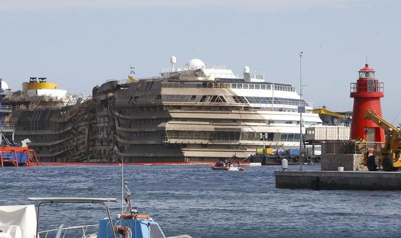 The cruise liner Costa Concordia is seen at the end of the ''parbuckling'' operation outside Giglio harbour September 17, 2013. REUTERS/Tony Gentile