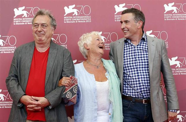 Director Stephen Frears (L) poses with actors Judi Dench and Steve Coogan (R) during a photocall for the movie ''Philomena'' during the 70th Venice Film Festival in Venice in this August 31, 2013, file photo. REUTERS/Alessandro Bianchi/Files
