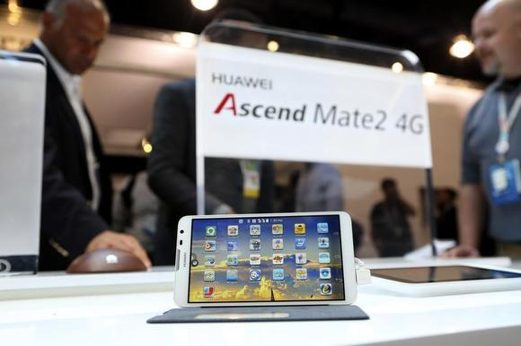 The Huawei Ascend Mate2 4G mobile telephone with an Android operating system is displayed at the annual Consumer Electronics Show (CES) in Las Vegas, Nevada January 8, 2014. REUTERS/Robert Galbraith