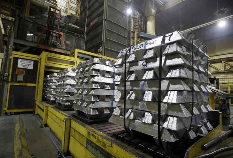 Aluminum ingots which will be melted down and turned into engine cases are seen during a tour of the Honda automotive engine plant in Anna, Ohio October 11, 2012. REUTERS/Paul Vernon