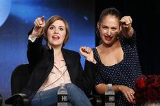 "Creator, executive producer and actor Lena Dunham (L) and actor Jemima Kirke talk about HBO's ""Girls"" during the Winter 2014 TCA presentations in Pasadena, California, January 9, 2014. REUTERS/Lucy Nicholson"