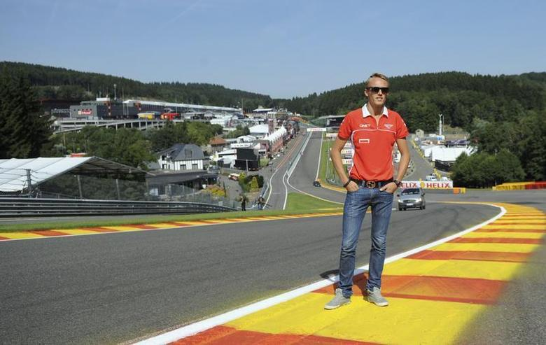 Marussia Formula One driver Max Chilton of Britain poses on the track ahead of the weekend's Belgian F1 Grand Prix in Spa-Francorchamps August 22, 2013. REUTERS/Laurent Dubrule