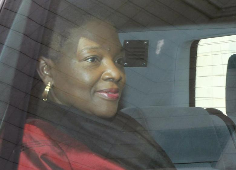 United Nations Under-Secretary-General for Humanitarian Affairs and Emergency Relief Coordinator Valerie Amos is seen in a car as she leaves a hotel in Damascus January 12, 2014. REUTERS/Khaled al-Hariri