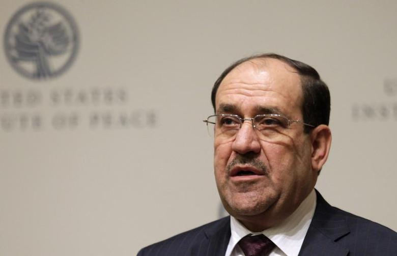 Iraqi Prime Minister Nuri al-Maliki speaks at a United States Institute of Peace (USIP) forum on Iraq's transition in Washington October 31, 2013. REUTERS/Yuri Gripas