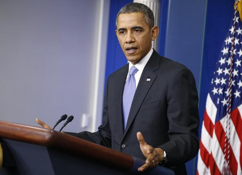 U.S. President Barack Obama addresses his year-end news conference in the White House briefing room in Washington, December 20, 2013. REUTERS/Jonathan Ernst
