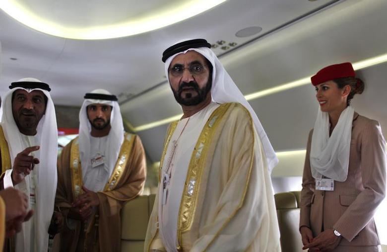 United Arab Emirates' Prime Minister and Ruler of Dubai Sheikh Mohammed bin Rashid al-Maktoum takes a tour inside an Airbus A380 aircraft during the Dubai Airshow November 17, 2013. REUTERS/Ahmed Jadallah